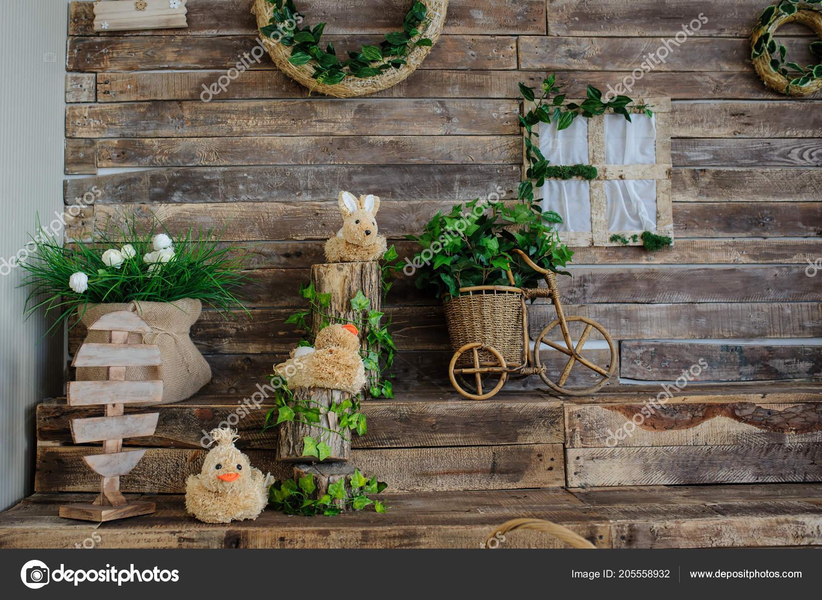 Dekoration Auf Einer Holzwand Mit Treppen Fur Veranstaltungen