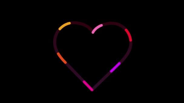 Gyönyörű színes szív animáció. Színes banner, Valentin-nap.