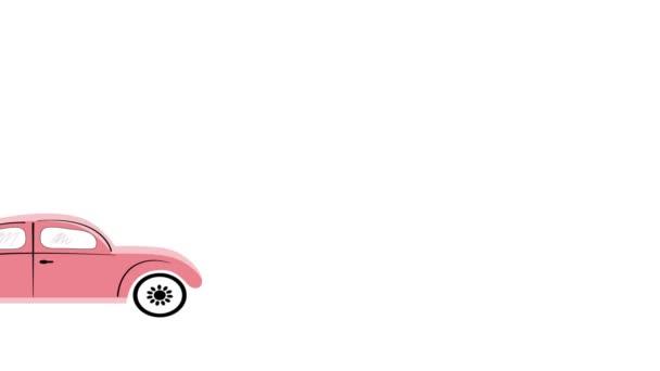 Animace, staré vintage červené růžové auto řídit. Banner auto disků.