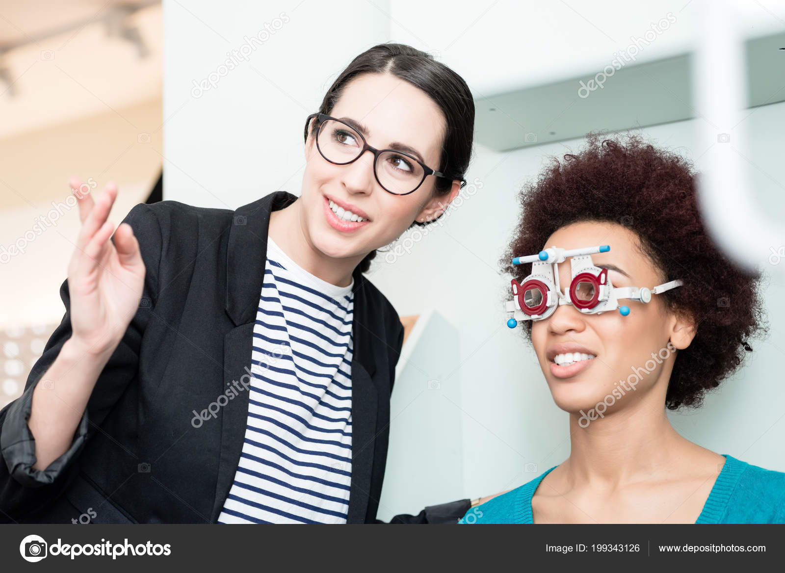 8d7dc74ce8 Woman with optician at eyesight test for glasses — Stock Photo ...