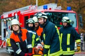 Fotografie Accident - Fire brigade, Accident Victim on Stretcher