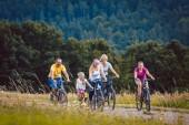 Rodina, jízdu na kole na odpoledne v přírodě