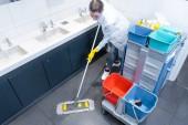 Fotografie Uklízečka vytřel podlahu v toaletě