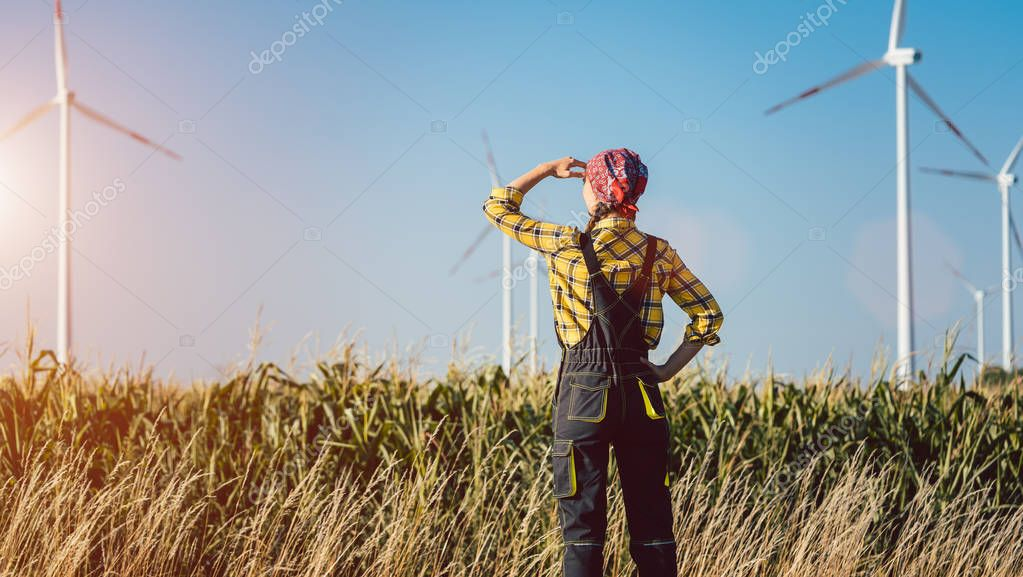 Farmer woman has invested not only in land but also wind energy