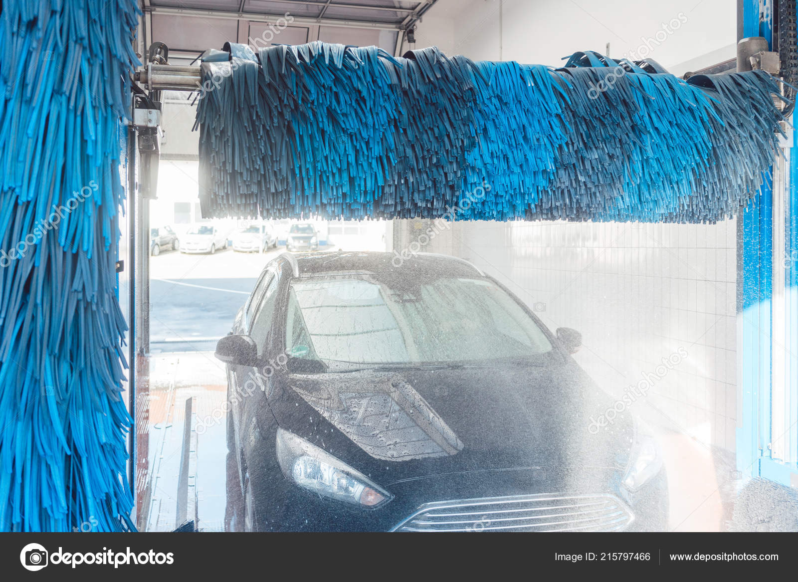 Commercial car wash brush sealing wood floors