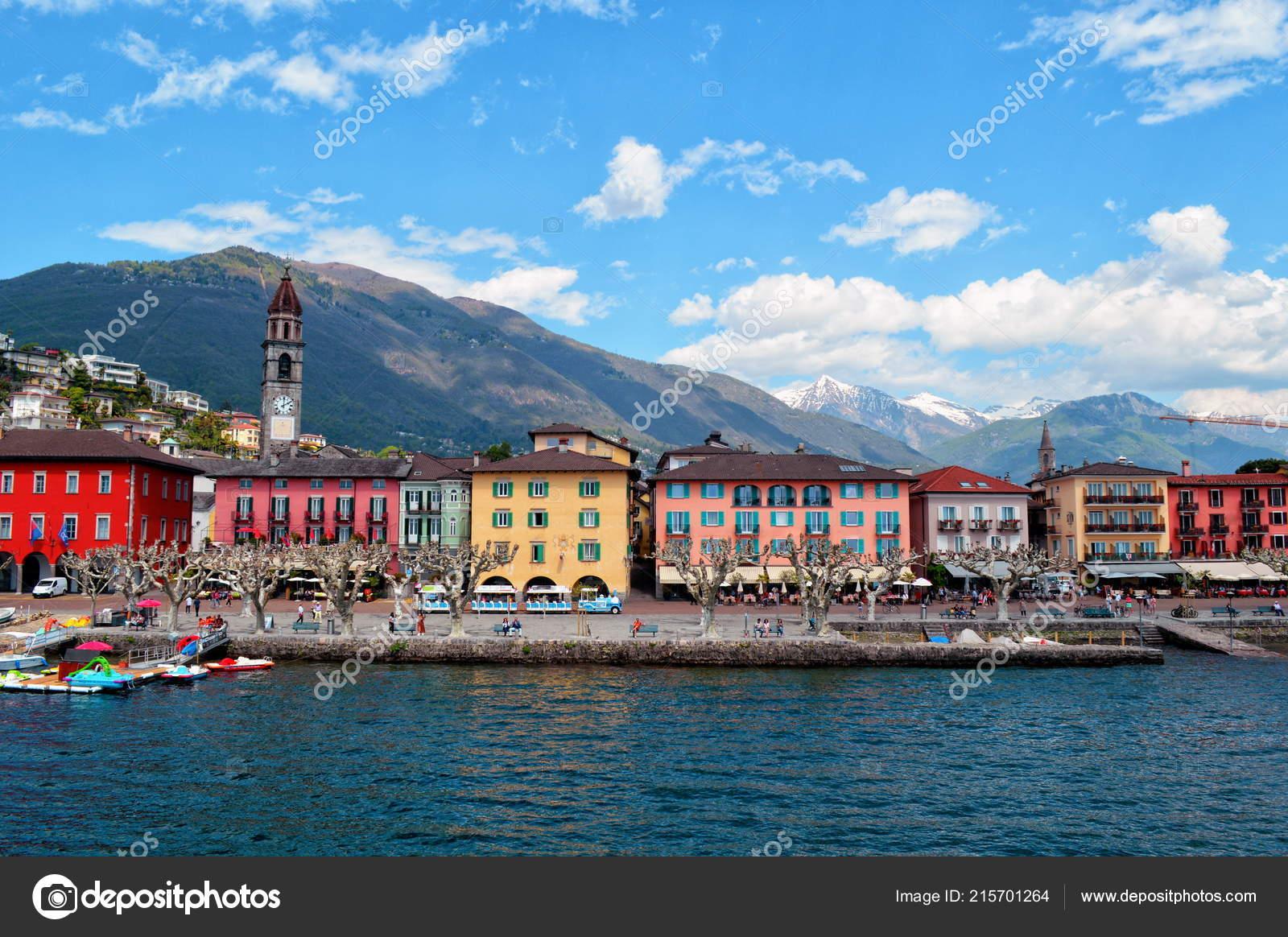 Обои Пейзаж, причалы, лодки, ticino, швейцария, дома, ascona, набережная. Города foto 18