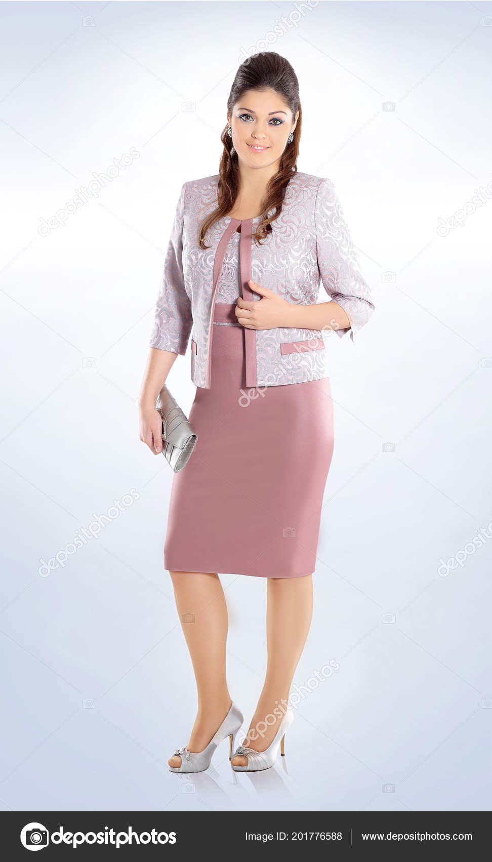 Business style.plus Size. female model in a fashionable dress ...