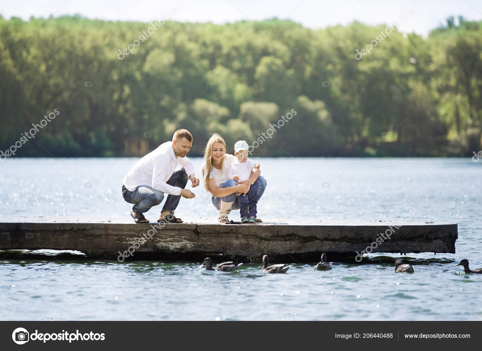 Happy Mom Dad And Son Feed The Ducks On A Sunny Day Stock Photo