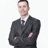 portréja egy sikeres fiatal businessman.isolated, fehér