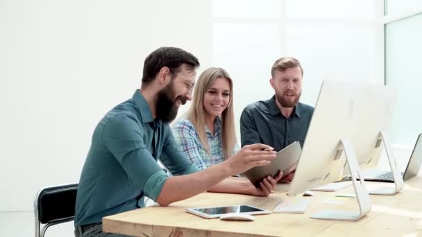 group of employees discussing new ideas at the workplace in the office.