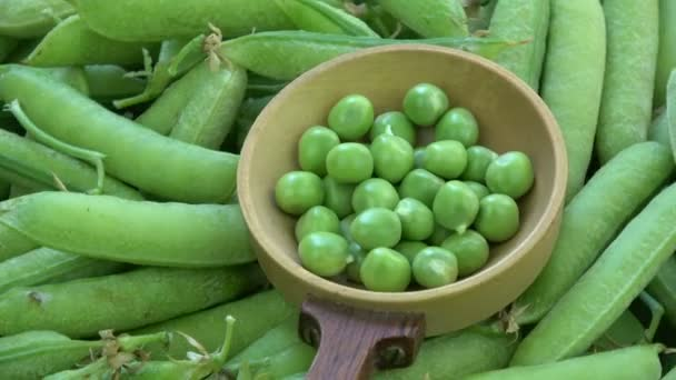 Rotating green pea pods and peas in old wooden spoon