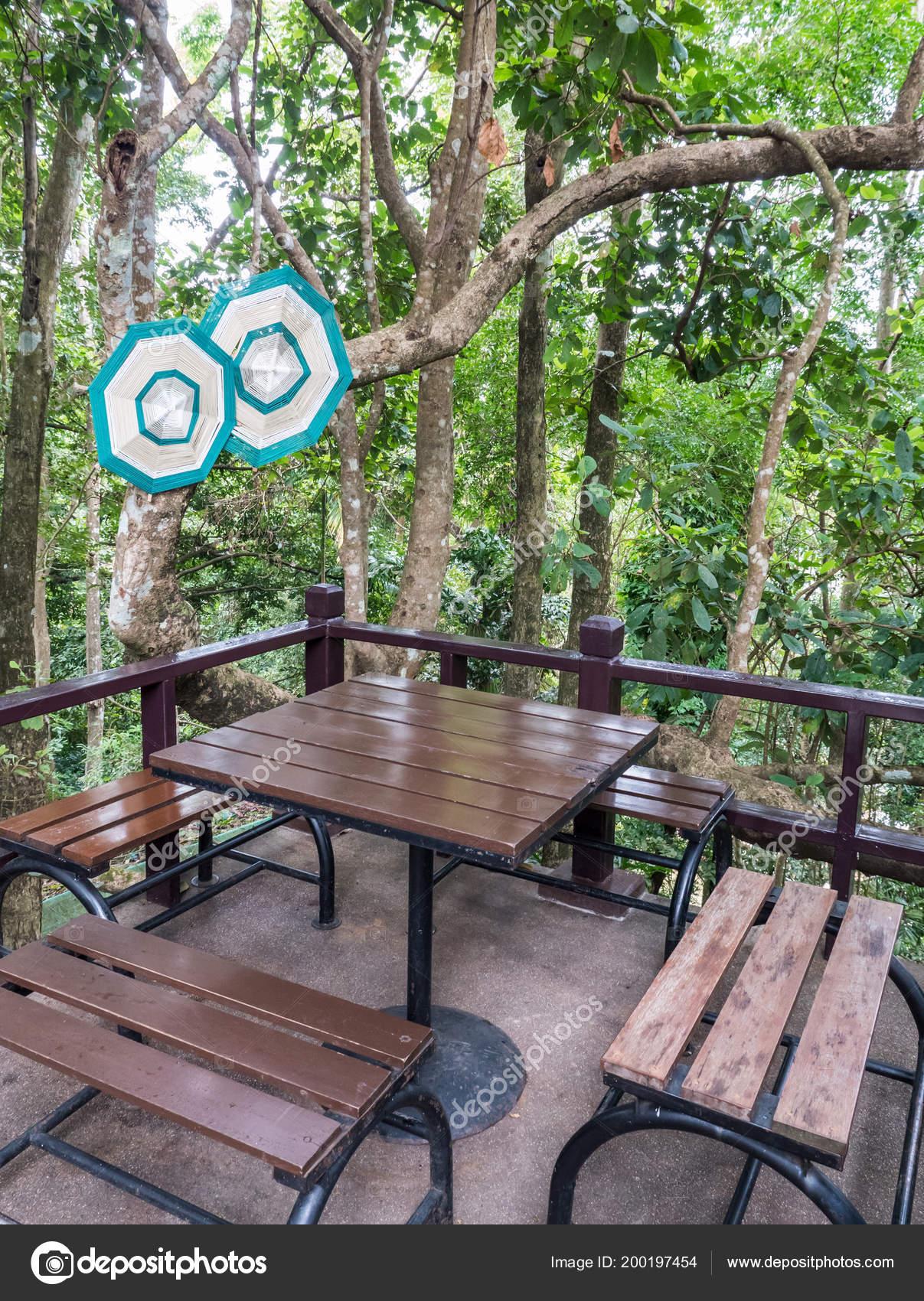 Armature Métal Banc Bois Situé Proximité Angle Balcon Jardin