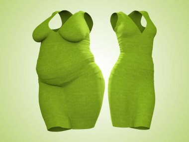 Conceptual fat overweight obese female dress outfit vs slim fit healthy body after weight loss or diet thin young woman on green.