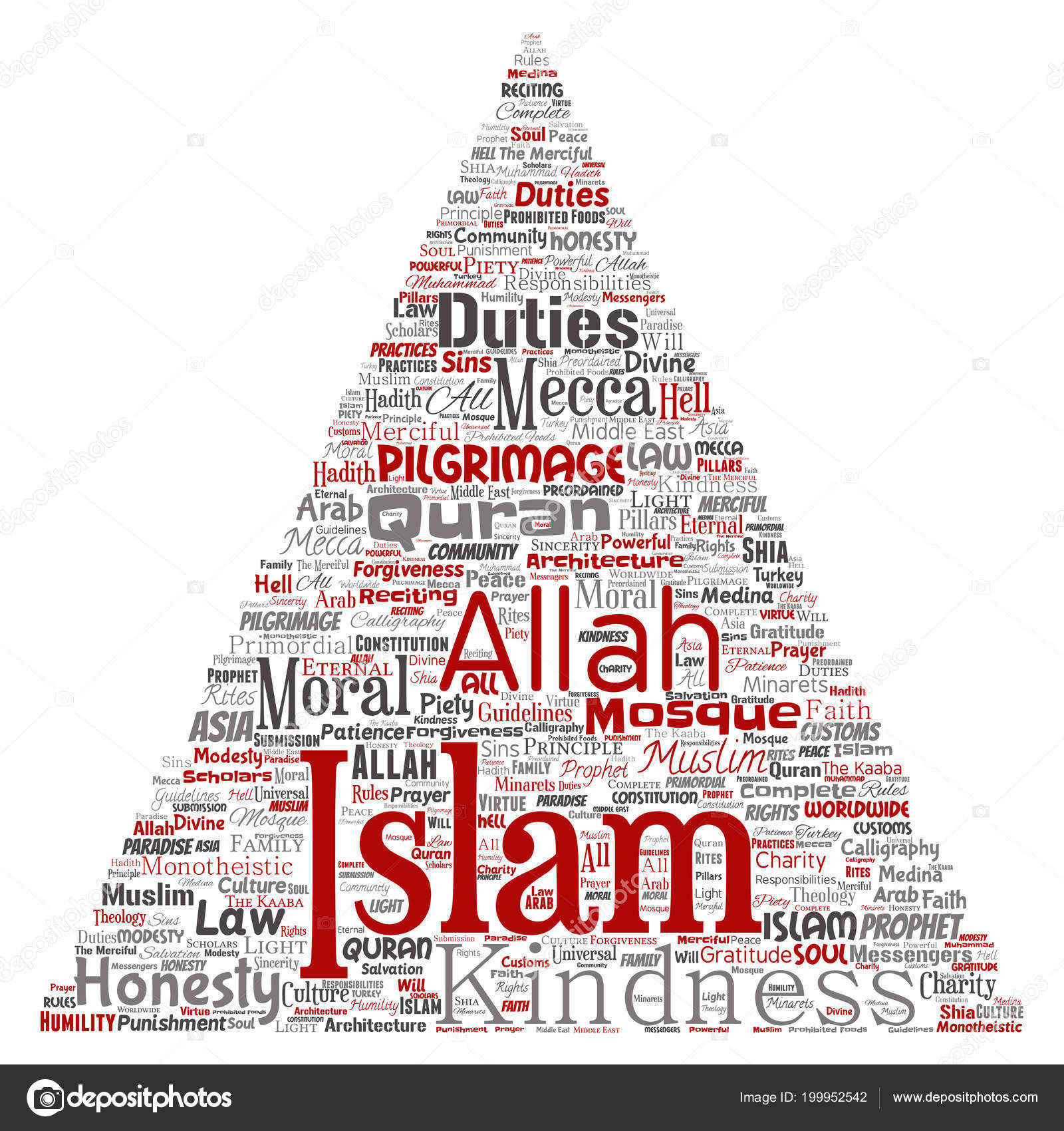 Vector Conceptual Islam Prophet Mosque Triangle Arrow Red Word Cloud ...