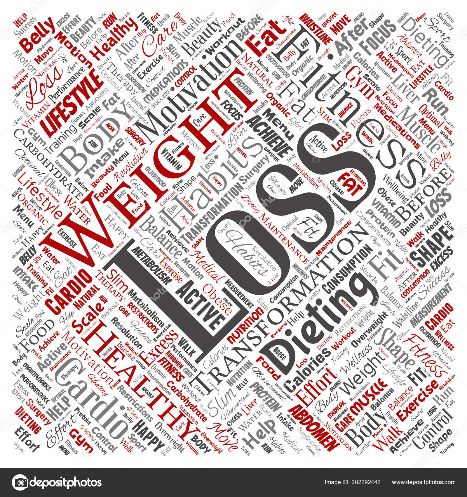 1b024e58da63 Вектор концептуальной вес потеря здорового питания Трансформация квадрата  красные слово облако изолированный фон. Коллаж фитнес мотивация жизни, ...