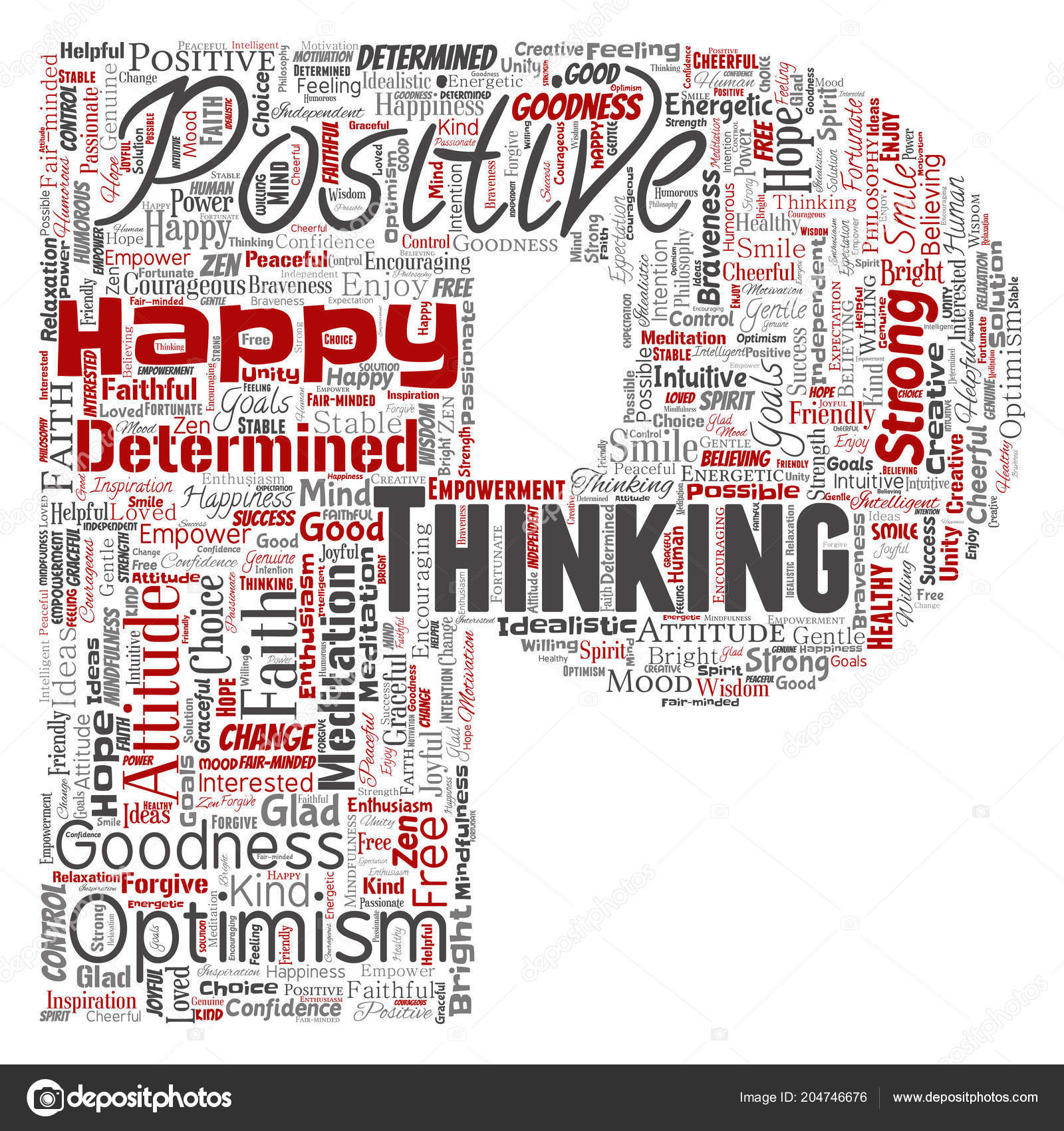 Words Cloud Shape Letter Conceptual Positive Thinking Happy Strong