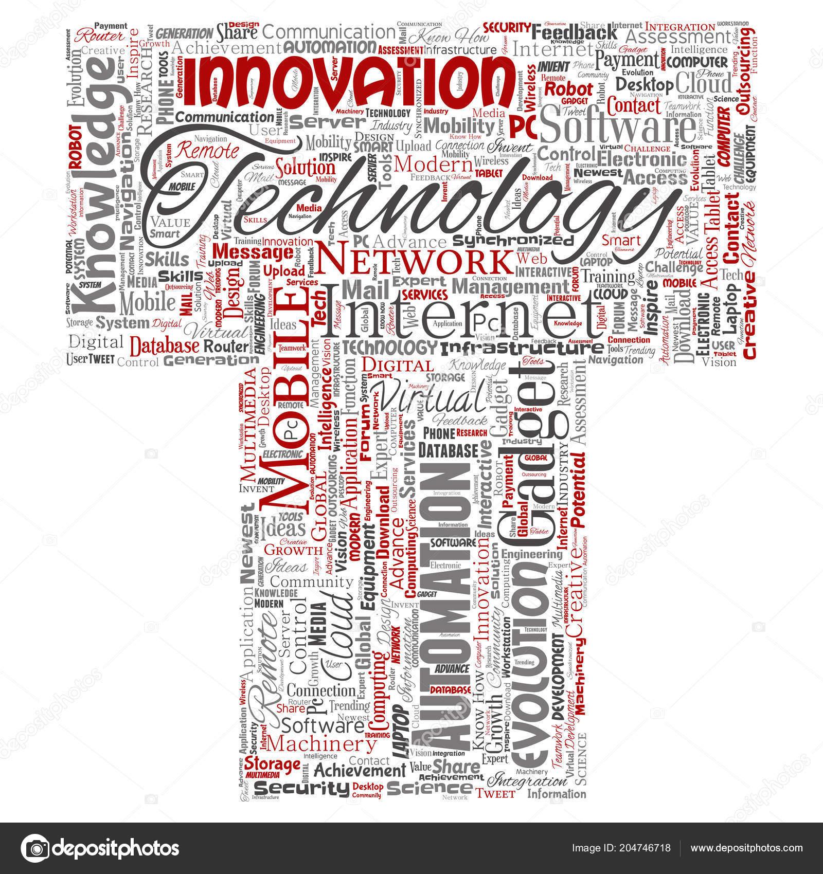 Words Cloud Shape Letter Conceptual Digital Smart Technology Stock