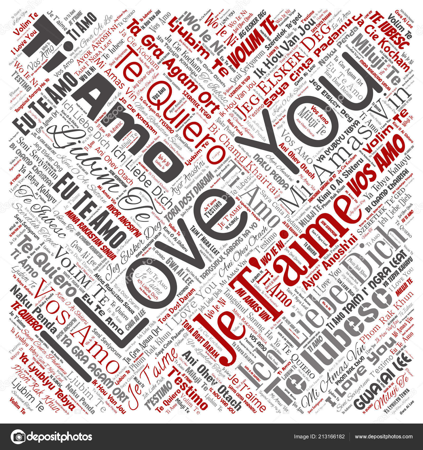 Vector Conceptual Sweet Romantic I Love You Multilingual Message Square Red Word Cloud Isolated Background Collage Of Valentine Day Romance Affection