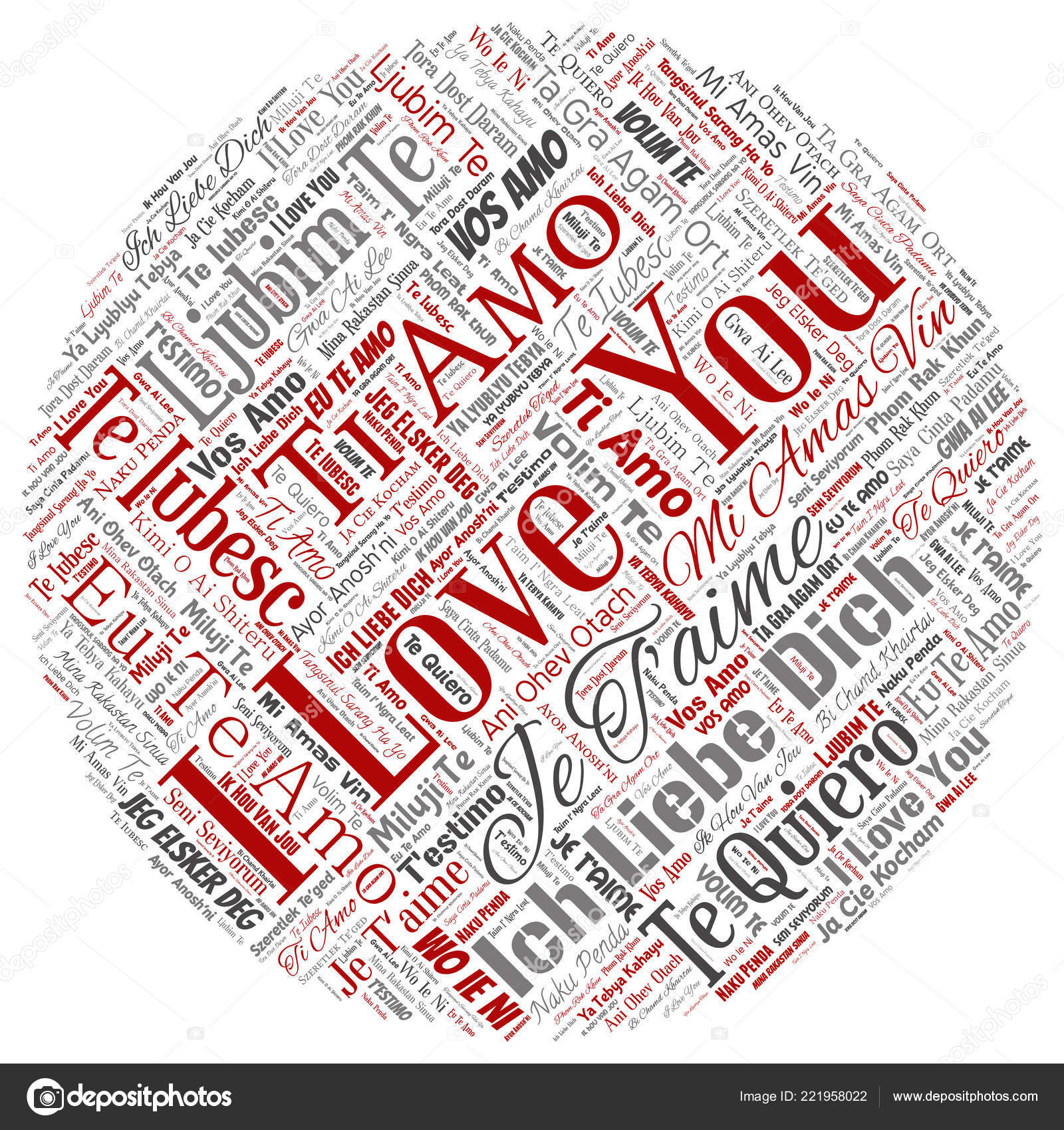 Vector Conceptual Sweet Romantic I Love You Multilingual Message Round Circle Red Word Cloud Isolated Background Collage Of Valentine Day