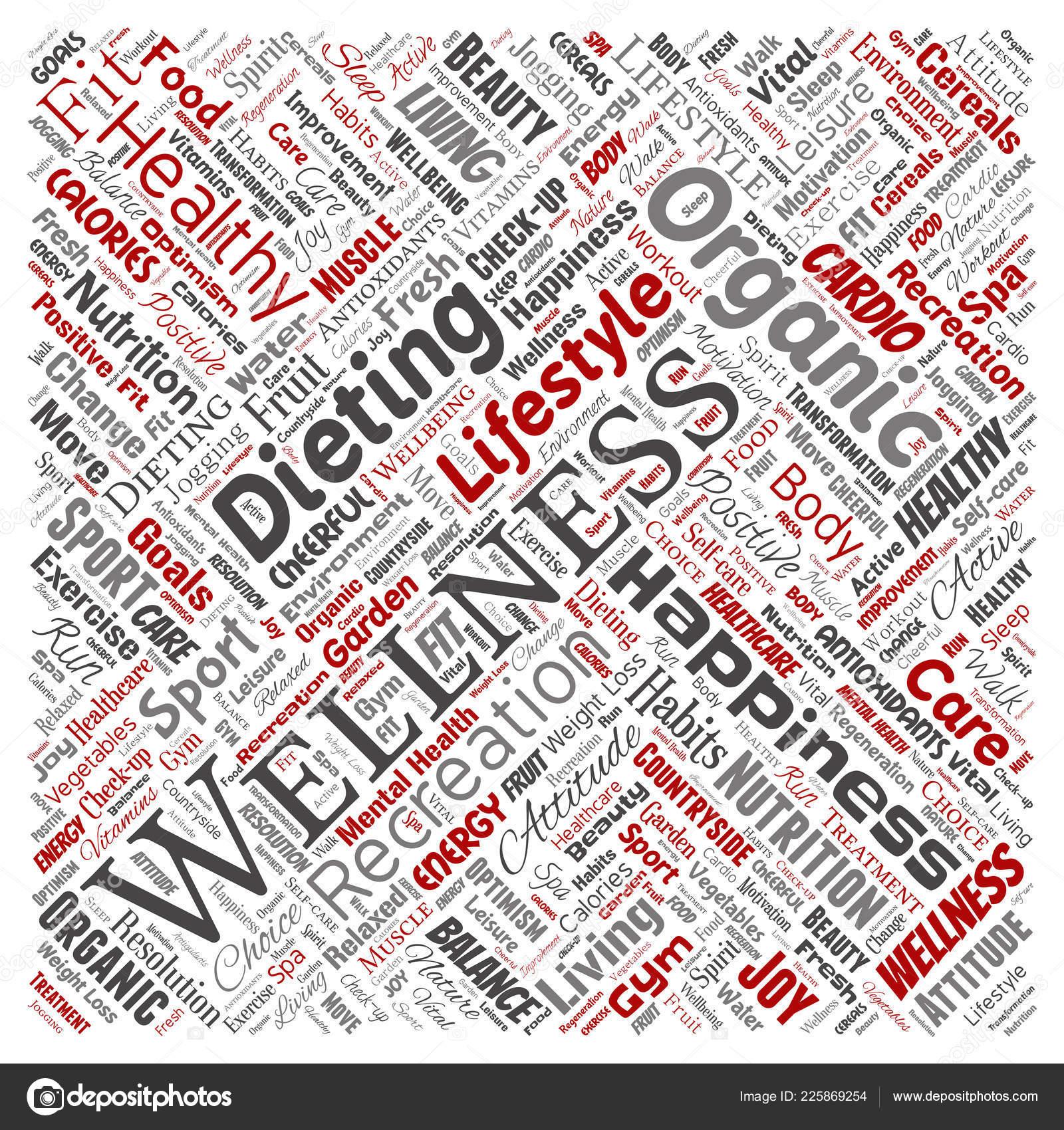conceptual lettering healthy living positive nutrition sport square