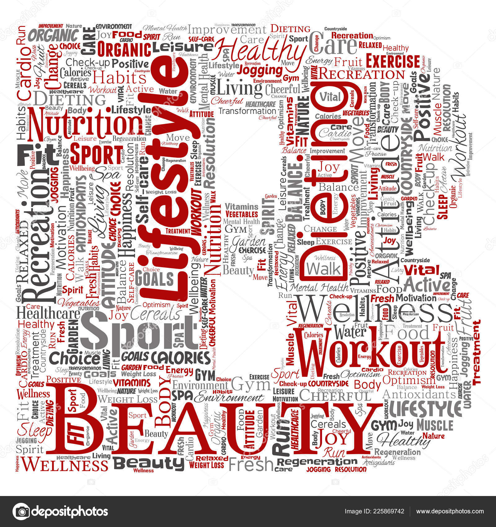 Conceptual Lettering Healthy Living Positive Nutrition Sport Letter