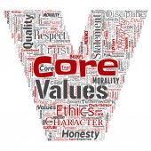 Fotografie Conceptual core values integrity ethics letter font C concept word cloud isolated background. Collage of honesty quality trust, statement, character, perseverance, respect and trustworthy