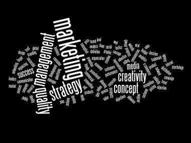 High resolution concept or conceptual abstract marketing and success word cloud or wordcloud isolated on background stock vector