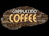 Conceptual creative hot morning italian coffee break, cappuccino or espresso restaurant or cafeteria abstract beverage word cloud isolated on background. An energy or taste drink concept text