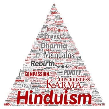 Conceptual hinduism, shiva, rama, yoga triangle arrow red word cloud isolated background. Collage of mandalas, samsara, celebration, tradition, peace, compassion, rebirth, karma, dharma concept stock vector