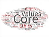 Fotografie Conceptual core values integrity ethics abstract concept word cloud isolated background. Collage of honesty quality trust, statement, character, important perseverance, respect trustworthy text
