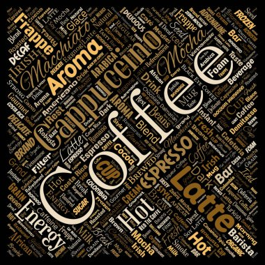 Conceptual creative hot morning italian coffee break cappuccino or espresso restaurant or cafeteria square red beverage word cloud isolated. A splash of energy or taste drink concept text stock vector