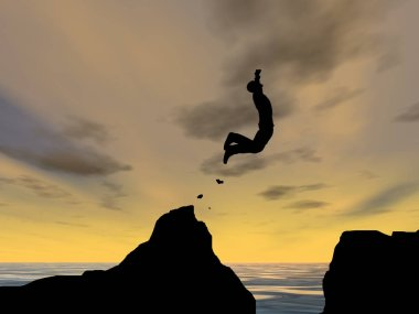 Concept of young man or businessman silhouette jumping happy from cliff over water gap sunset or sunrise sky background