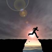 Koncepce nebo konceptuální 3d ilustrace mladý muž nebo podnikatel silueta skok šťastný z útesu nad průlomové údolí východu nebo západu slunce obloha pozadí