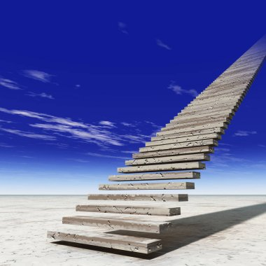 Concept or conceptual 3D illustration stair steps to heaven on sky background in desert with clouds