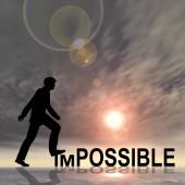 Koncepció, vagy fogalmi 3d illusztráció emberi férfi vagy üzletember fekete sziluett naplementekor lehetetlen, vagy lehet szöveg
