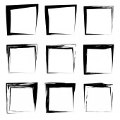 Collection or set of artistic black paint hand made creative grungy brush stroke square frames or borders isolated on white background. A grunge education sketch abstract creative ink design