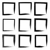 Kolekce nebo soubor uměleckých černé barvy ručně vyrobené kreativní výstřední štětce tahu čtvercové rámce nebo hranice izolovaných na bílém pozadí. Grunge vzdělání skica abstraktní tvůrčí rukopis design
