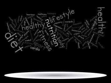 Concept or conceptual abstract health diet or sport word cloud or wordcloud isolated on background stock vector