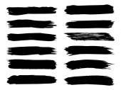 Sada kolekce uměleckých výstřední černé barvy ručně vyrobené kreativní tahu izolované na bílém pozadí. Skupina abstraktní grunge skici pro vzdělání nebo grafického umění dekorace