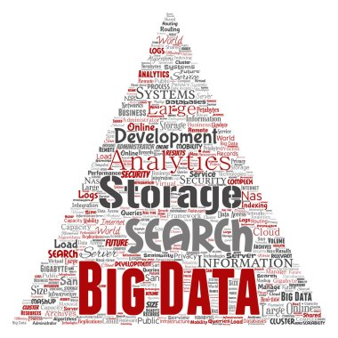 Conceptual big data large size storage systems triangle arrow word cloud isolated background. Collage of search analytics world information, nas development, future internet mobility concept