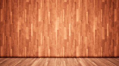Concept or conceptual vintage or grungy brown background of natural wood or wooden old texture floor and wall as a retro pattern layout. A 3d illustration metaphor to time, material, emptiness,  age or rust