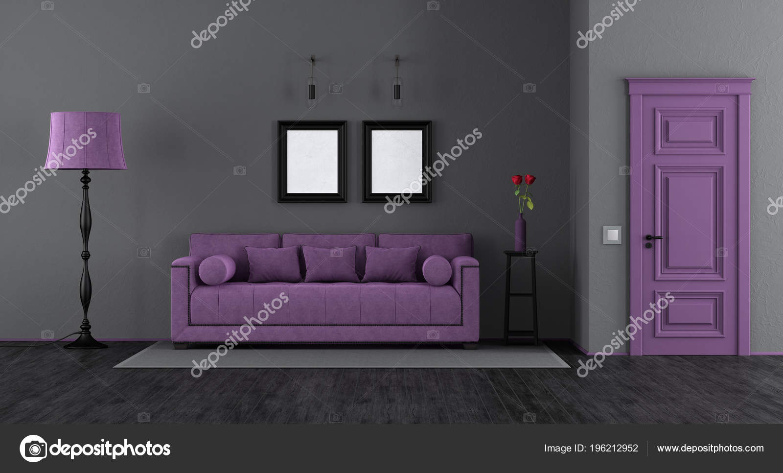 Elegant Black Purple Living Room Classic Sofa Floor Lamp ...