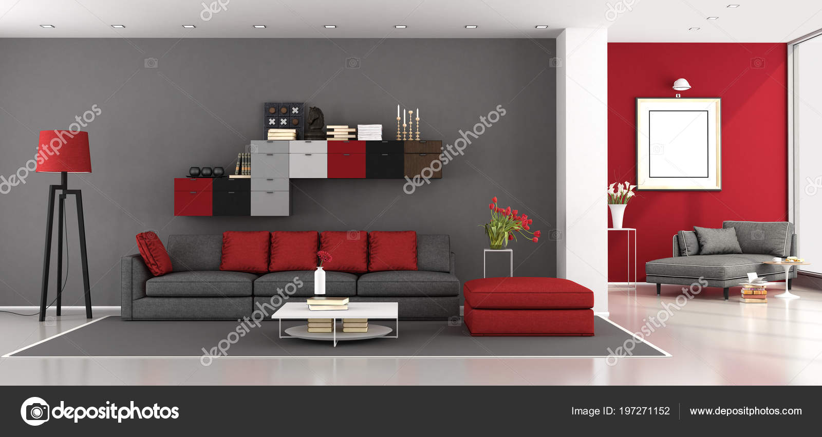 Grey And Red Living Room Ideas Red Gray Modern Living Room Sofa Chaise Lounge Background Rendering Stock Photo C Archideaphoto 197271152