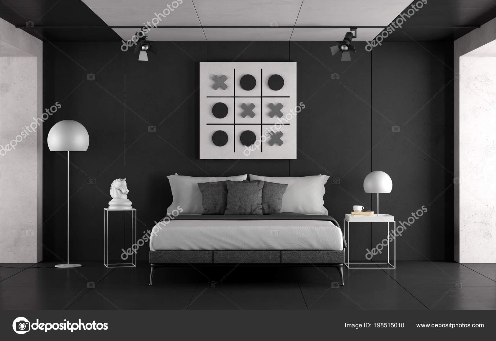 Arredamento Minimalista Camera Da Letto : Bianco nero master camera letto con arredi minimalisti pareti