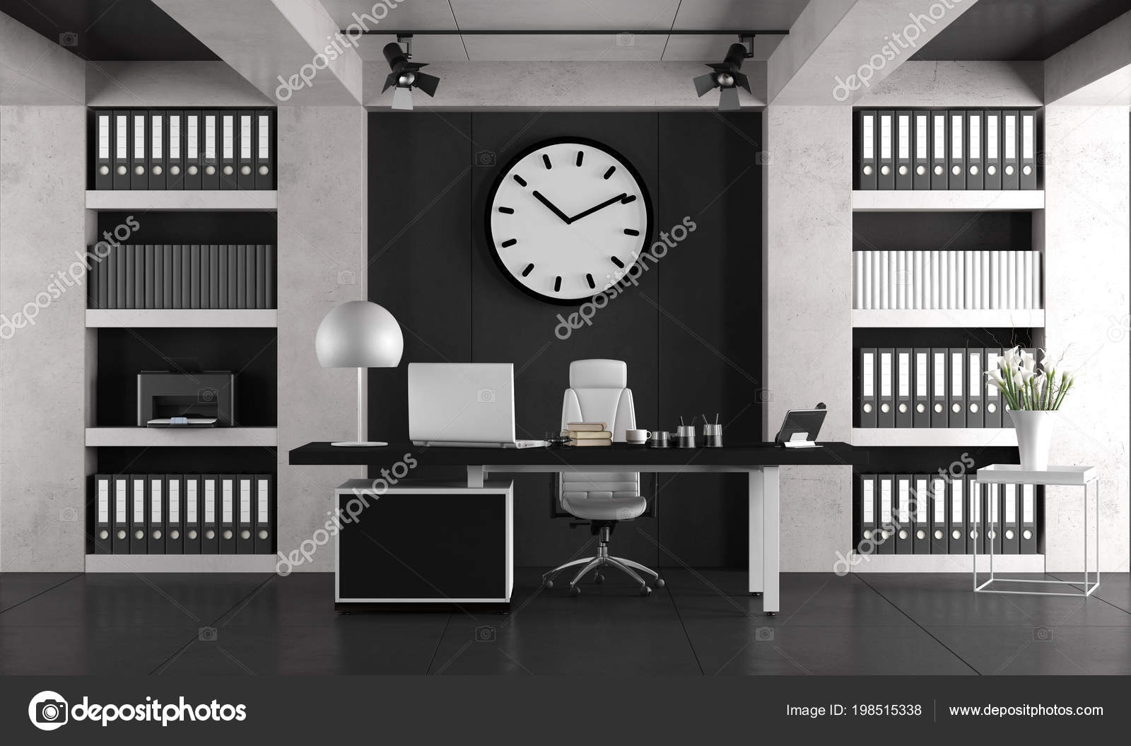 Bureau Noir Et Blanc black white minimalist office laptop desk bookcase rendering