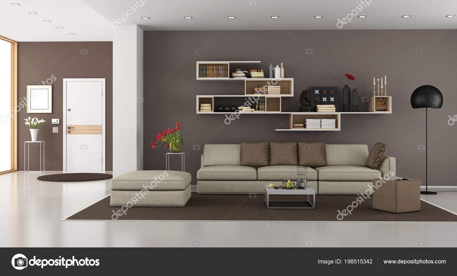 Soggiorno una casa moderna con divano una libreria porta for Immagini arredamento casa moderna