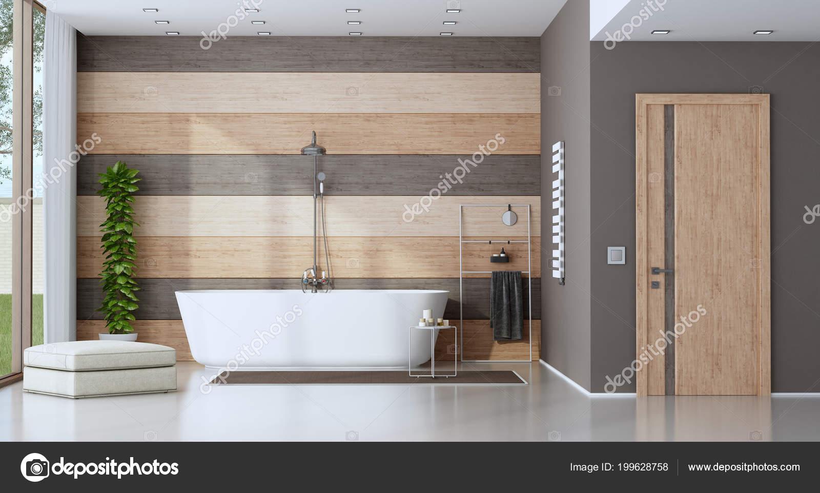 Vasca Da Bagno Espanol : Bagno moderno con vasca bagno contro parete legno rendering u2014 foto