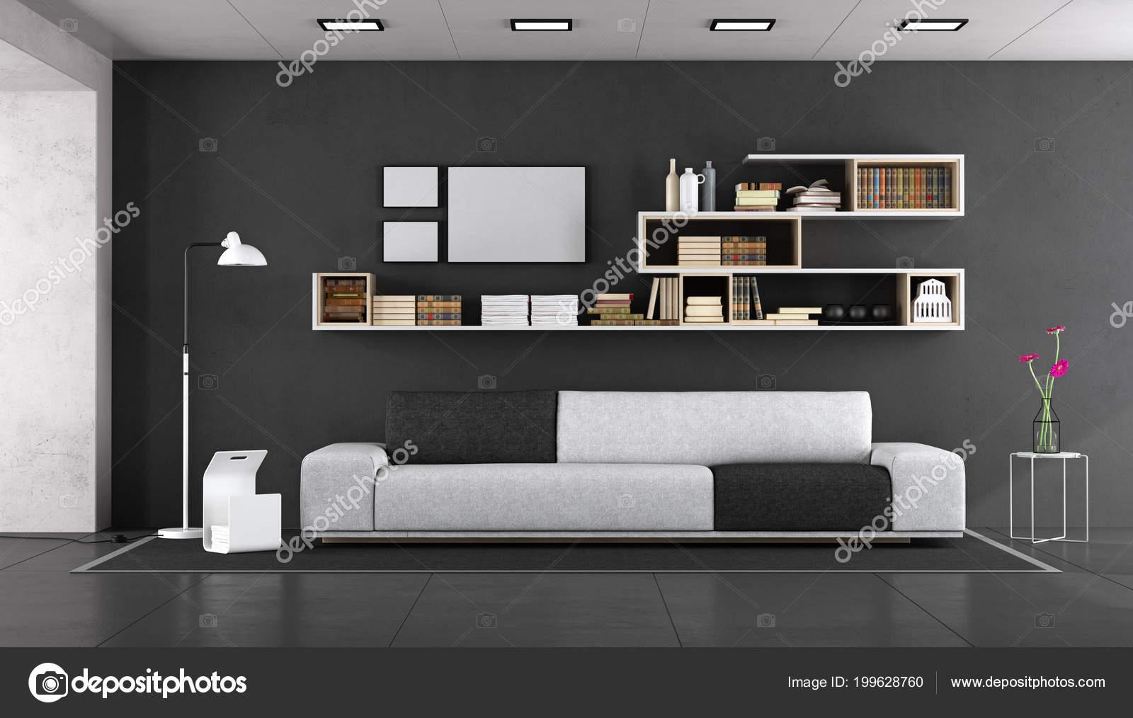 Schwarz Weiss Modernes Wohnen Mit Stoff Sofa Und Bucherregal Wand