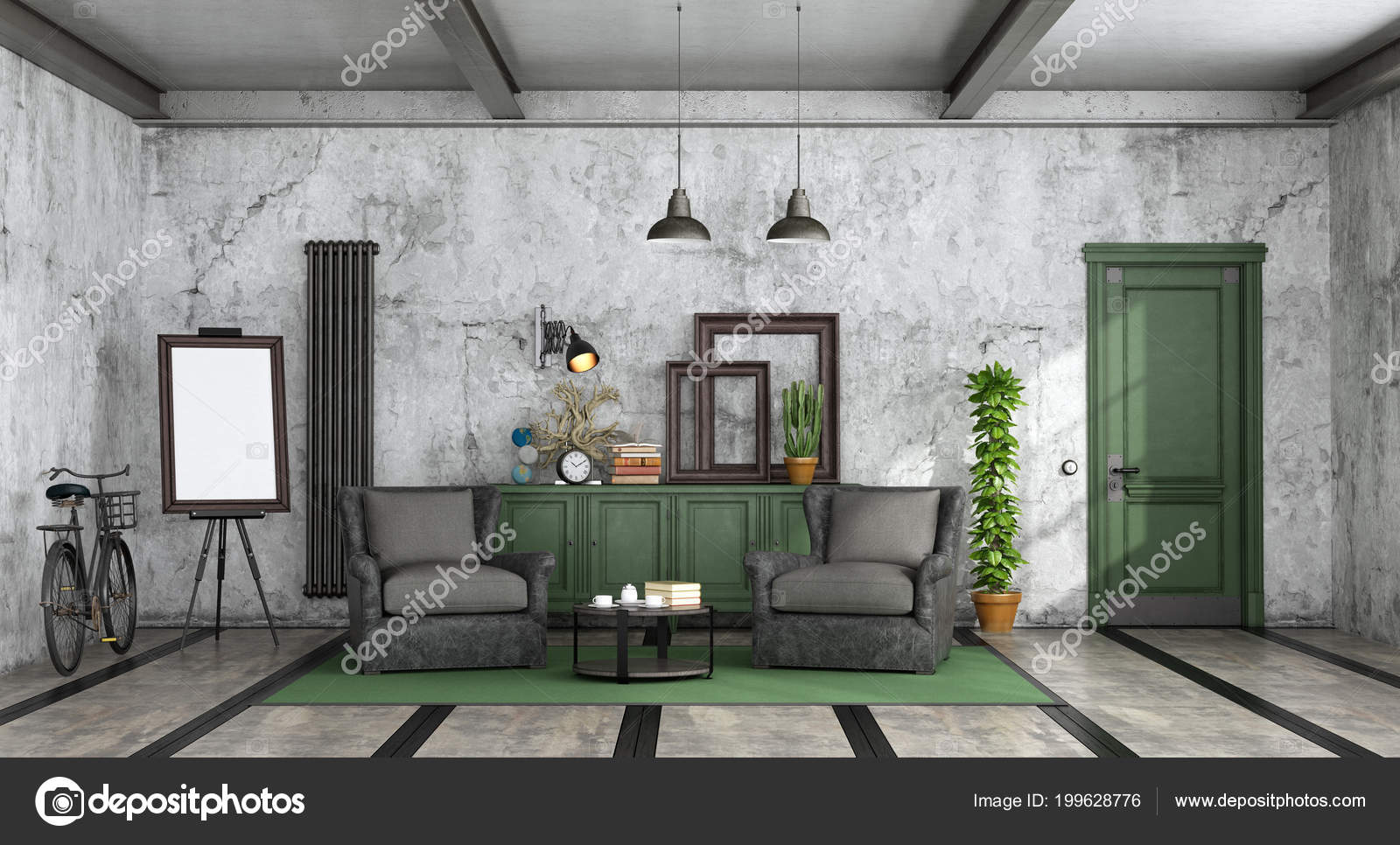 Entzuckend Wohnzimmer Industriellen Stil Mit Alten Ledersessel Sideboard Und  Geschlossener Tür U2014 Stockfoto