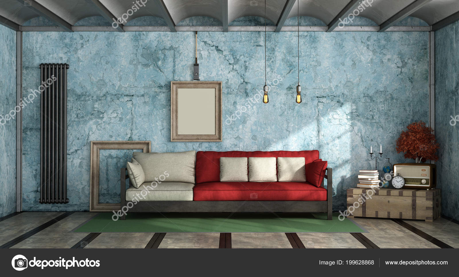 Colorful Living Room In Industrial Style With Sofa Against Old Blue Wall 3d  Rendering U2014 Photo By ...